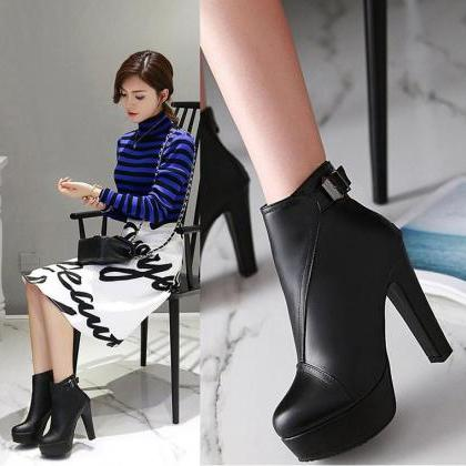 Leather Chunky Heel Ankle Boots Wit..